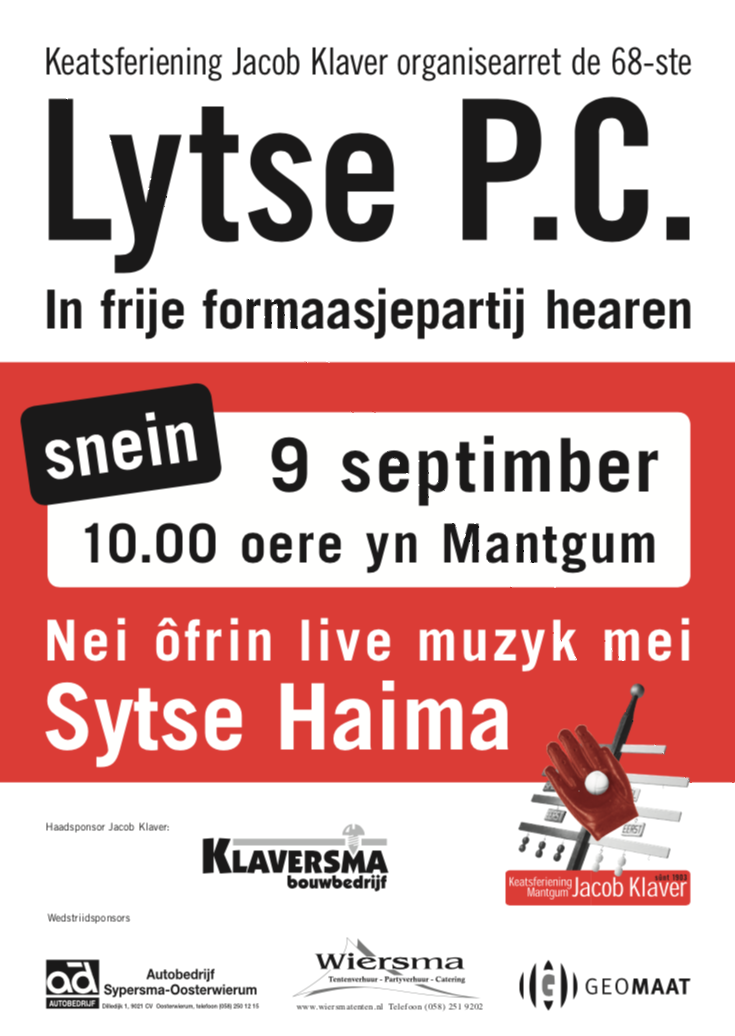9 Septimber: Lytse PC 2018